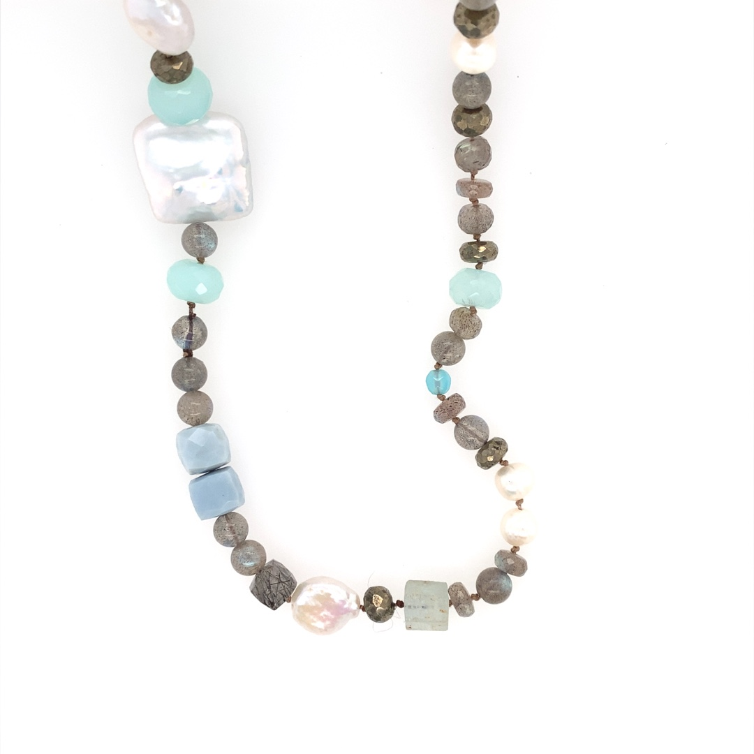 Large Square Coin Pearl and Mixed Gemstone Necklace