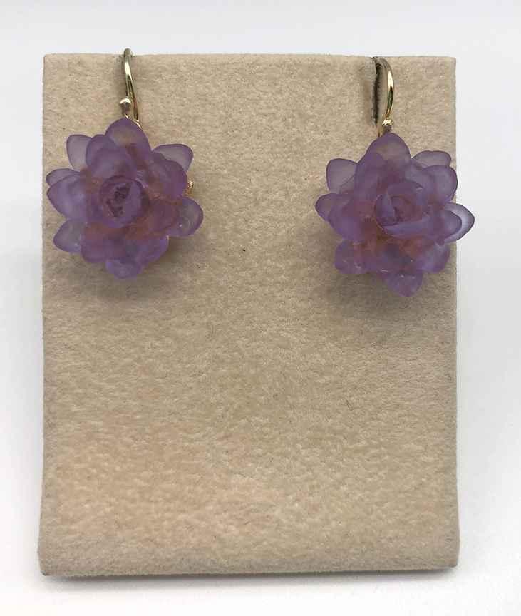 Lotus Wire Earrings in Lavender 1