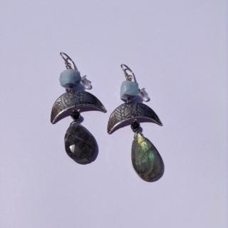 Silver Opal and Labradorite Blue Cube Earrings