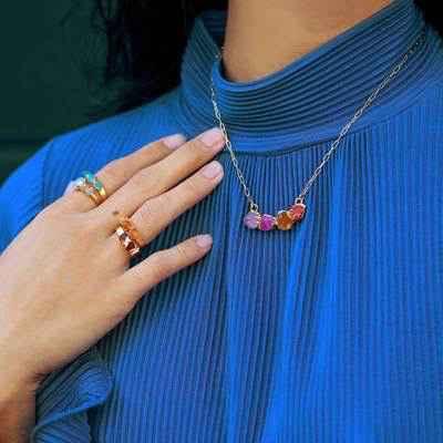 Amethyst, Carnelian, Pink Tourmaline Curve Necklace Gold