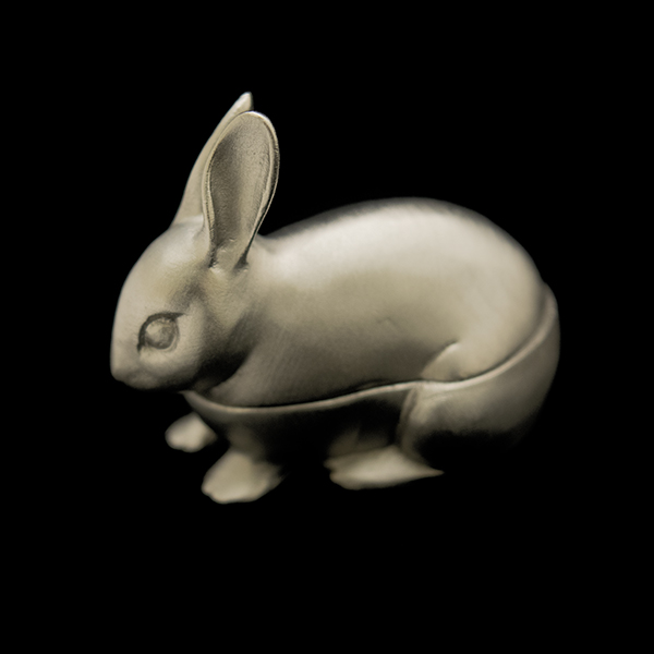 Hare Box, Antique Pewter