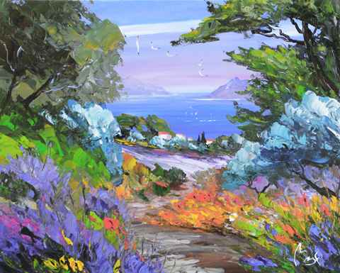 Path to Lavender Fiel... by  Louis  Magre - Masterpiece Online