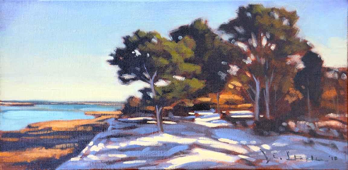 Winter Path Along Sen... by  Jeanne Staples - Masterpiece Online