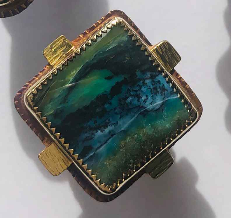 Sterling, 22k and Blue Opal Displaced Petrified Wood Ring - Size 7
