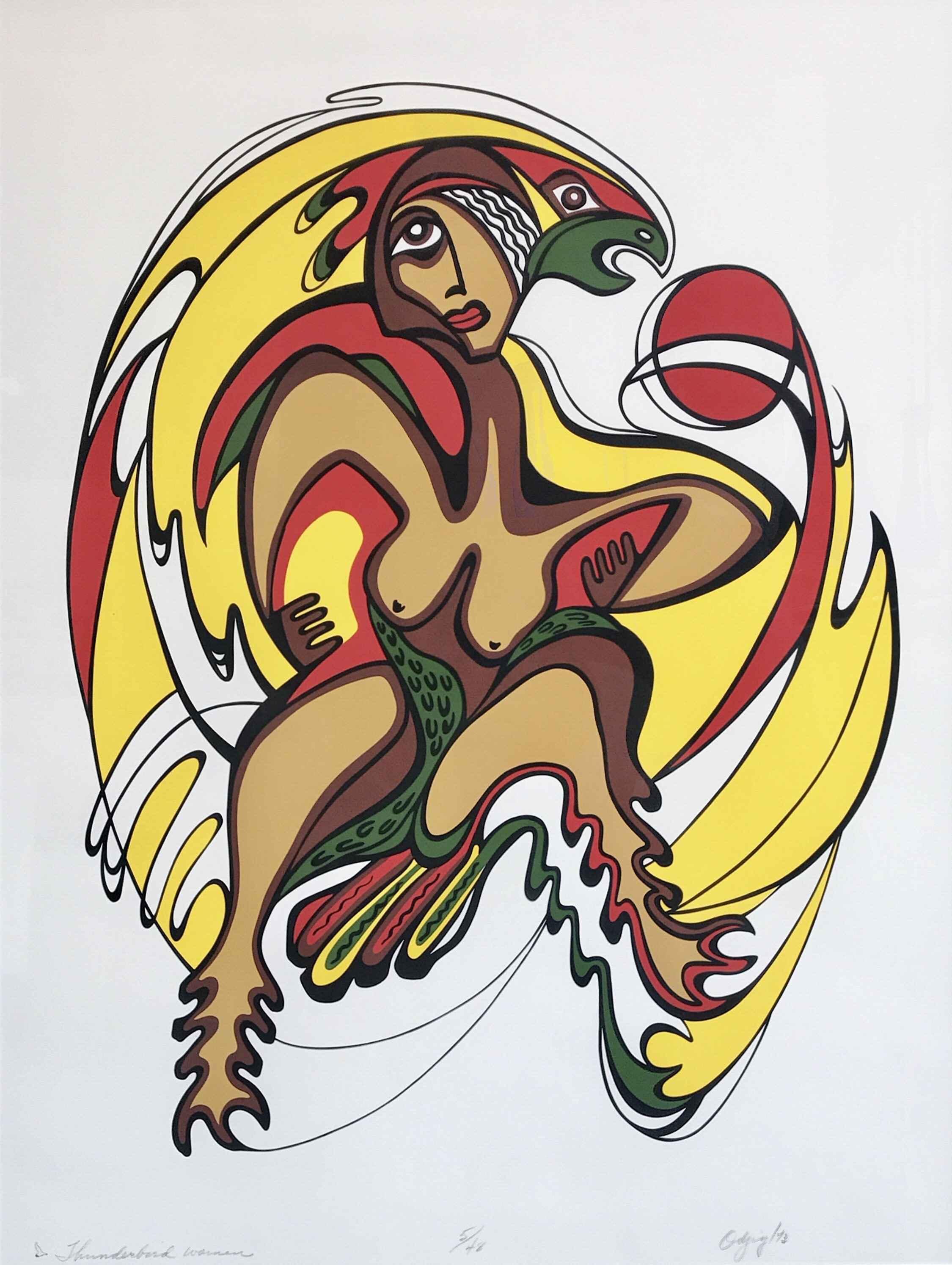 Thunderbird Woman 5/4... by  Daphne Odjig - Masterpiece Online