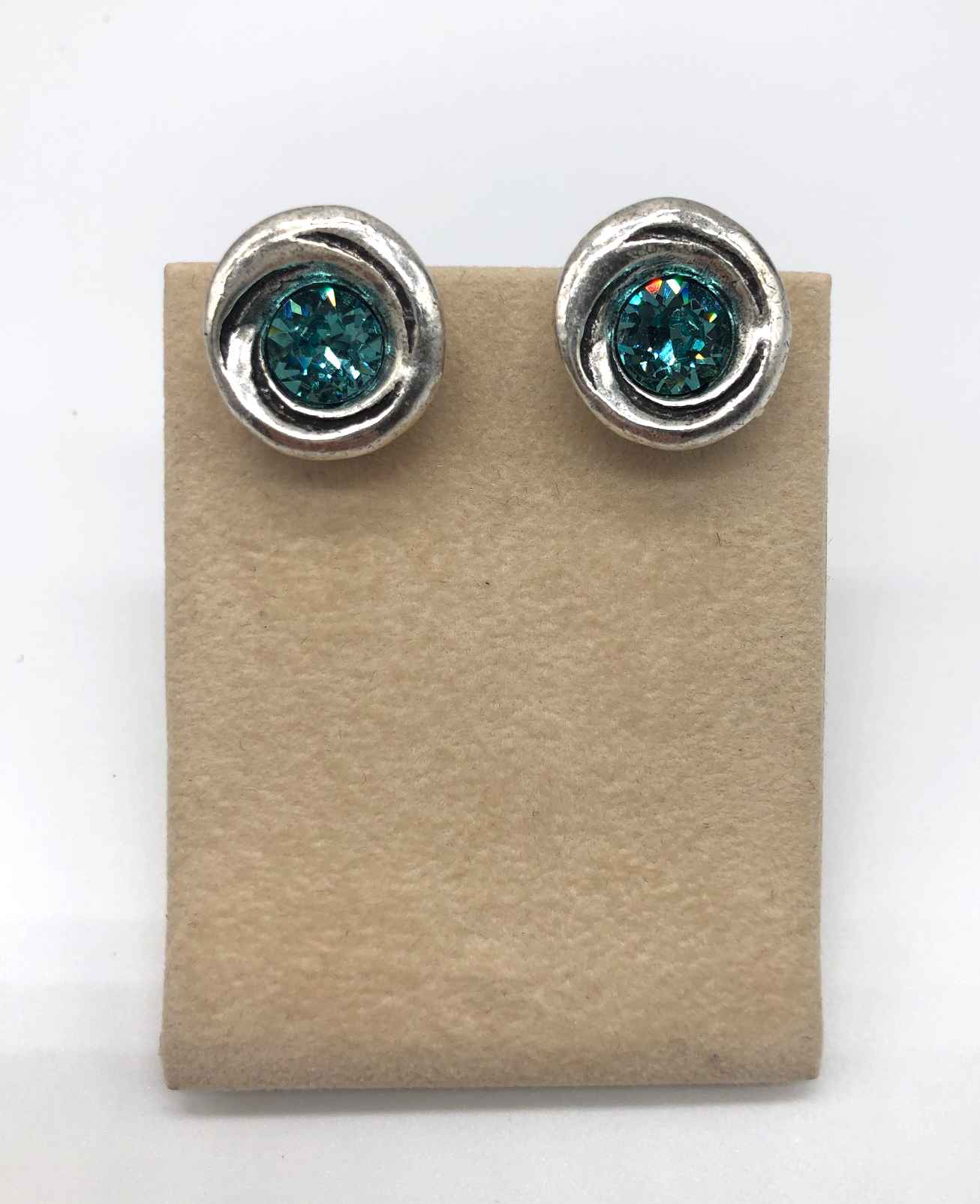 Amala Clip Earring in Silver, Light Turquoise Crystal