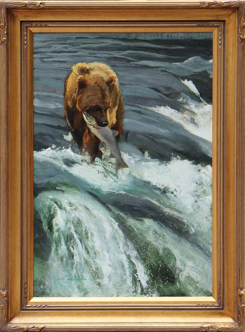Brooks Falls Bear by  Luke Frazier - Masterpiece Online