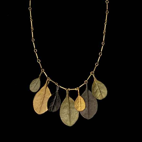 Bahamian Bay Tri-Color Large Leaf Necklace 16