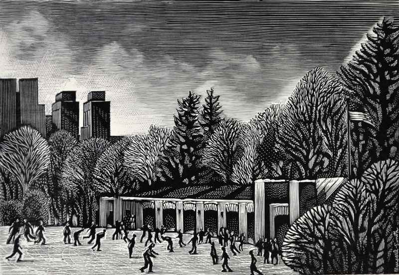 Ice Skating Rink by  Bernard Brussel-Smith (1914-1989) - Masterpiece Online