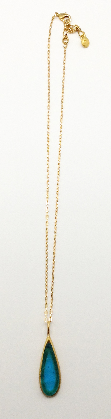 Thin Drop Pendant on Link Chain 16