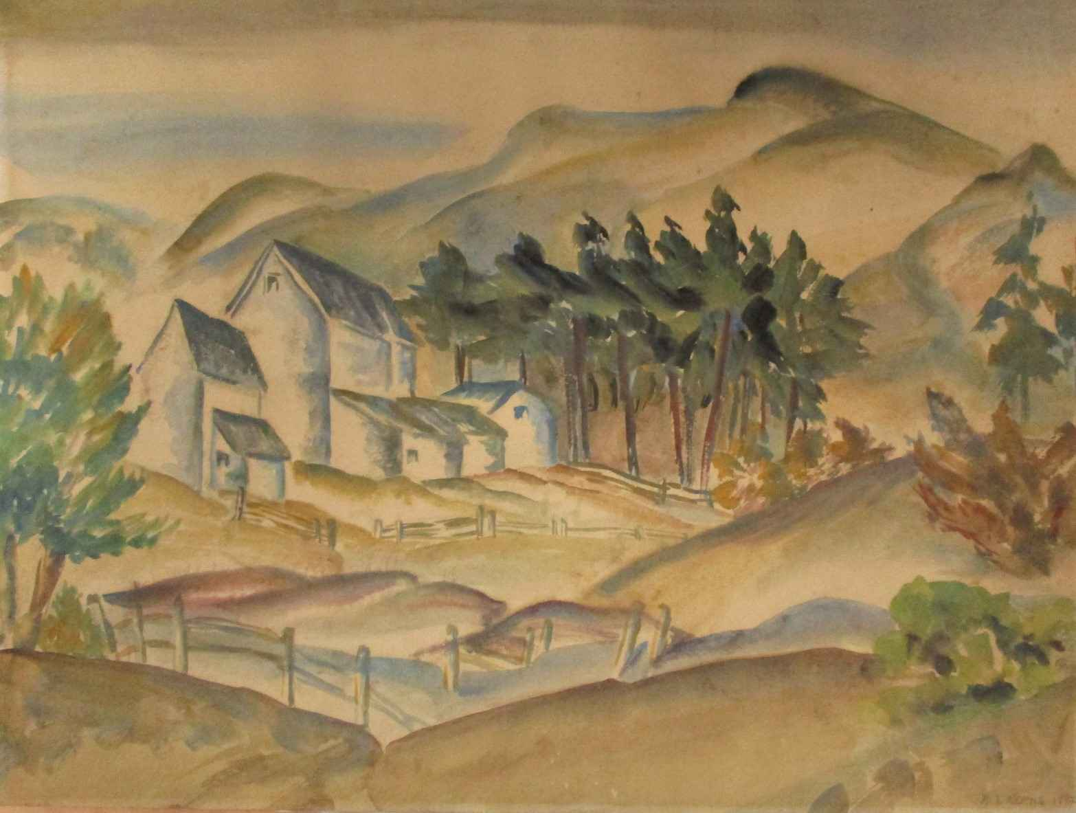 White Barns and Fog by  Maude Kerns - Masterpiece Online