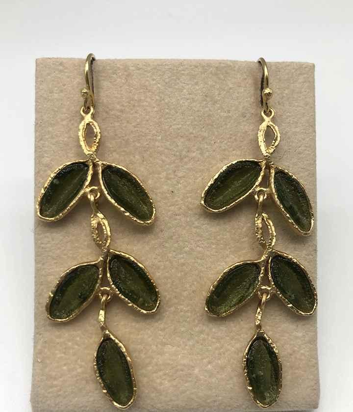 Sage 5 Leaf Drop Wire Earrings 2 1/4