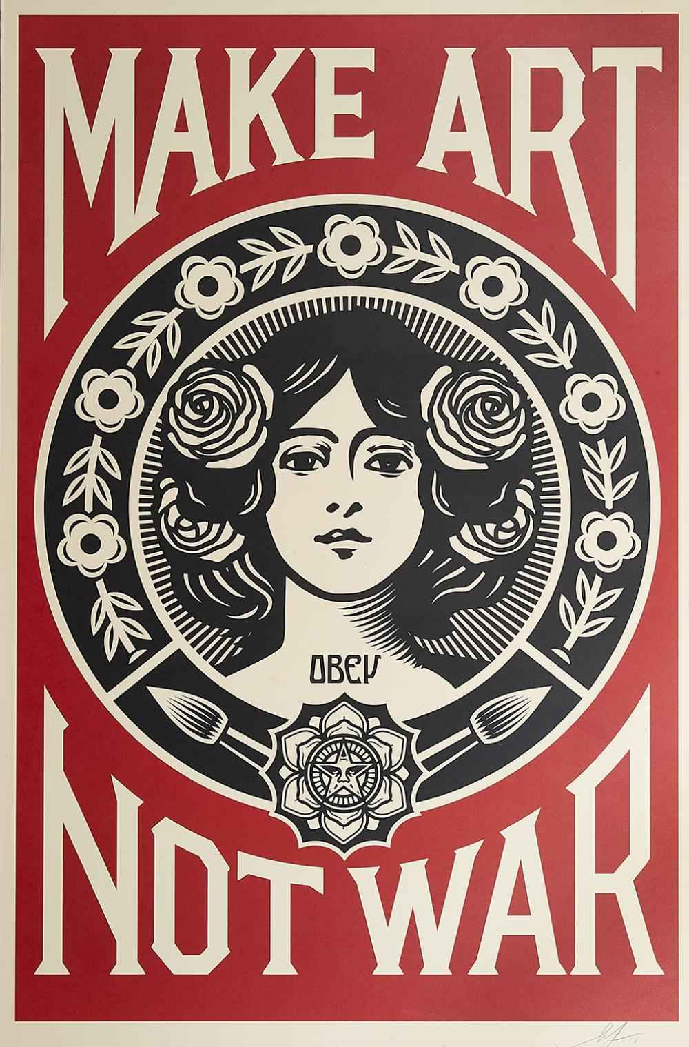 Make Art Not War by  Shepard Fairey - Masterpiece Online