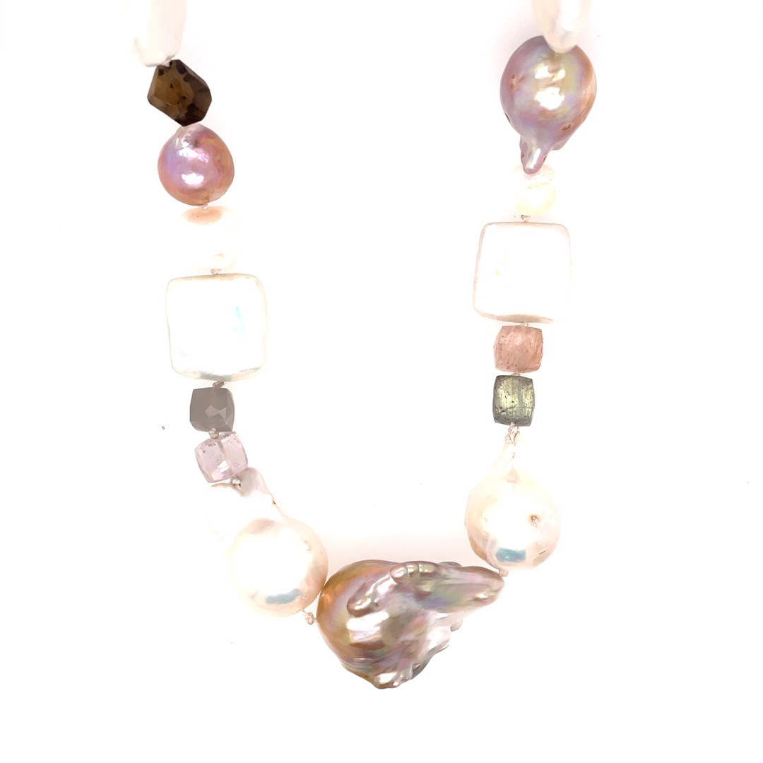 Baroque Pearl and Mixed Gems Necklace 16