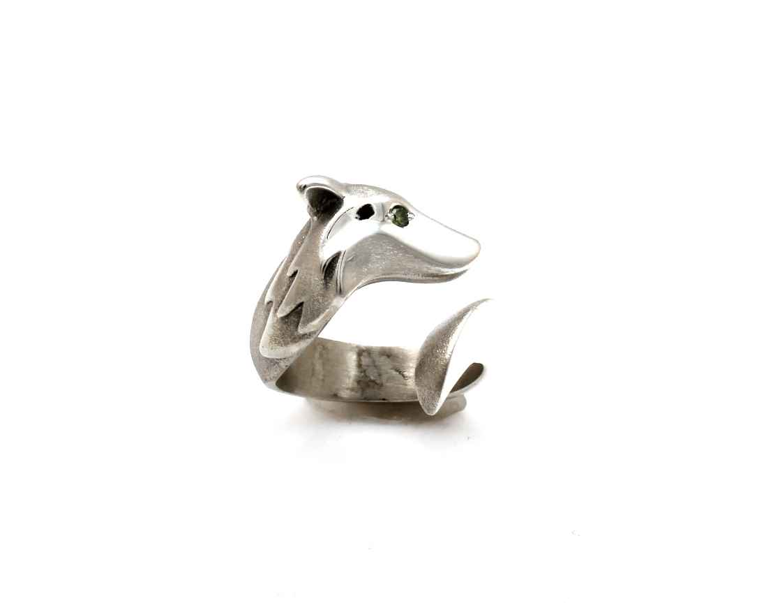 Timber Wolf Ring With... by  Michael Tatom - Masterpiece Online