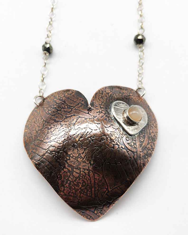 Heart Necklace Copper and Sterling