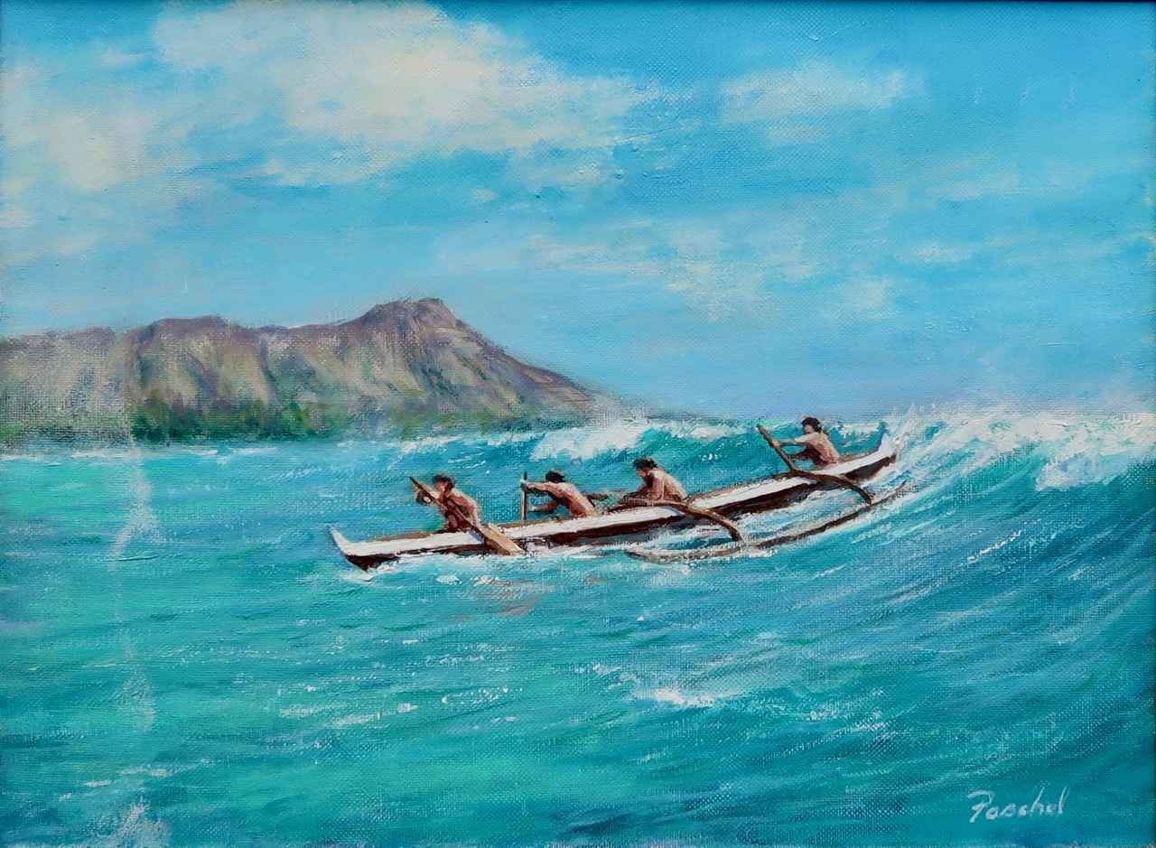Waikiki Canoe Riders by  Stephen Paschal - Masterpiece Online