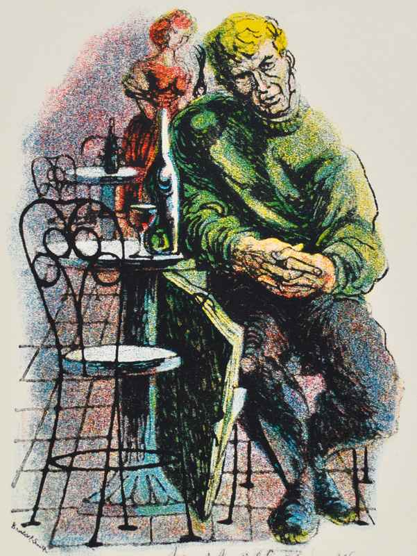 Man at Cafe (1959) by  Bernard Brussel-Smith (1914-1989) - Masterpiece Online