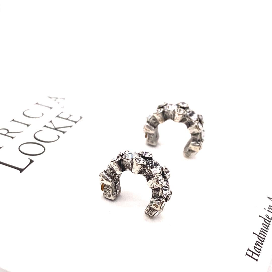 Atomic Earrings in Silver, All Crystal