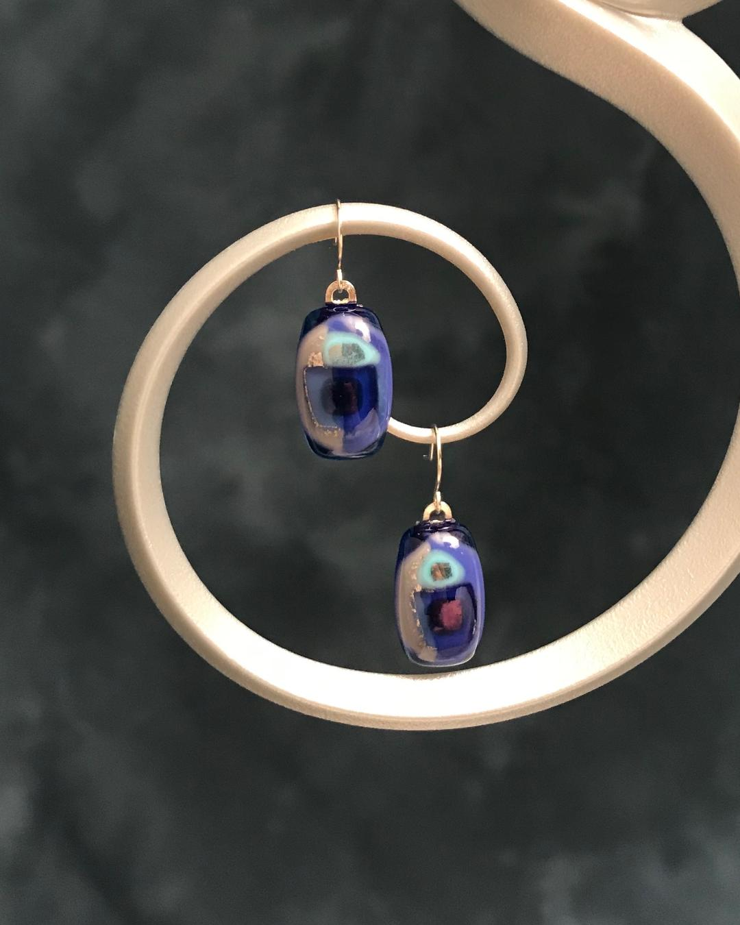 Fused Glass Blue & Silver Dots Earrings with Silver Plated Wires