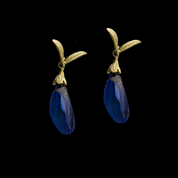 False Indigo Large Glass Bud Post Earrings