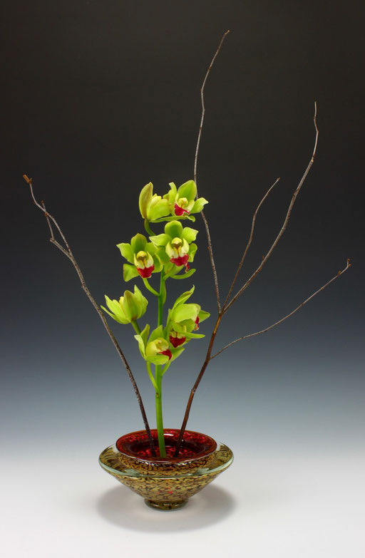 Small Ikebana Bowl in Transparent Ruby