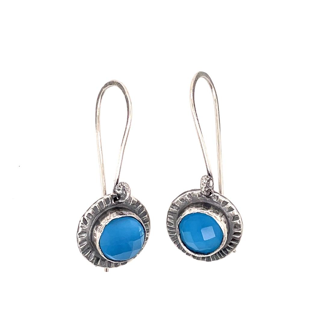 Cornflower Blue Rose Cut Chalcedony in Sterling Earrings