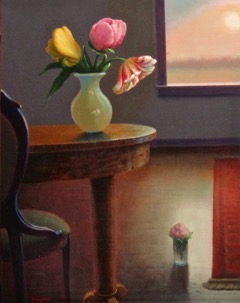 Sunlit Room Interior with Tulips