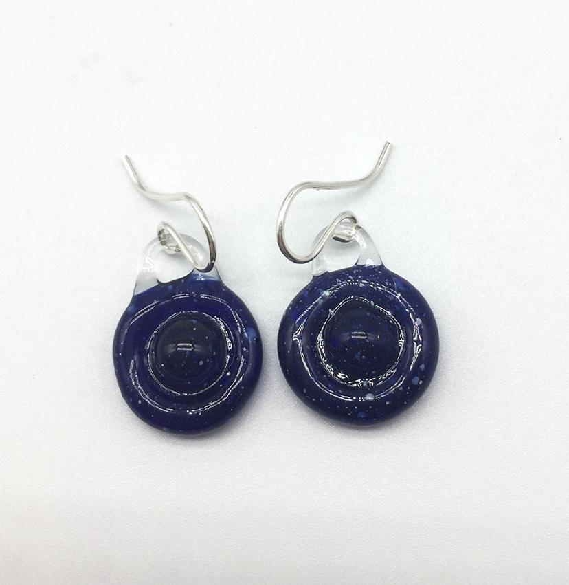 Blue Saturn Earrings on Sterling Wires