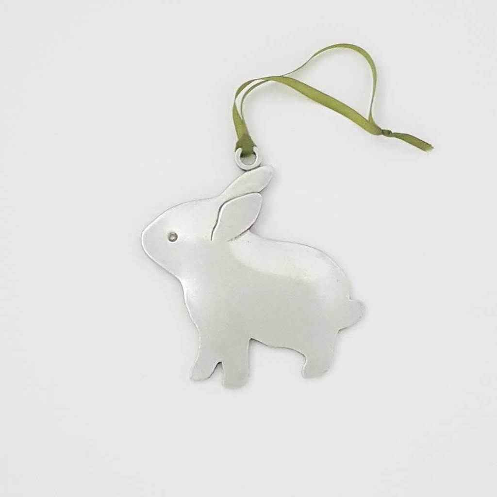 Bunny Pewter Holiday Ornament V. 2
