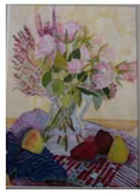 Flowers on Fabric wit... by  Deborah Hiatt - Masterpiece Online