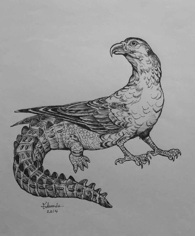 Hawkodile  by  Wallace Edwards