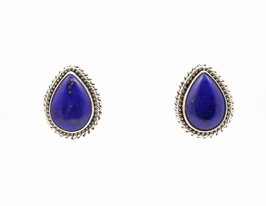Lapis Post Earrings by  Artie Yellowhorse - Masterpiece Online