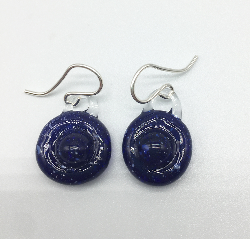 Blue Saturn Earrings on Sterling Wires