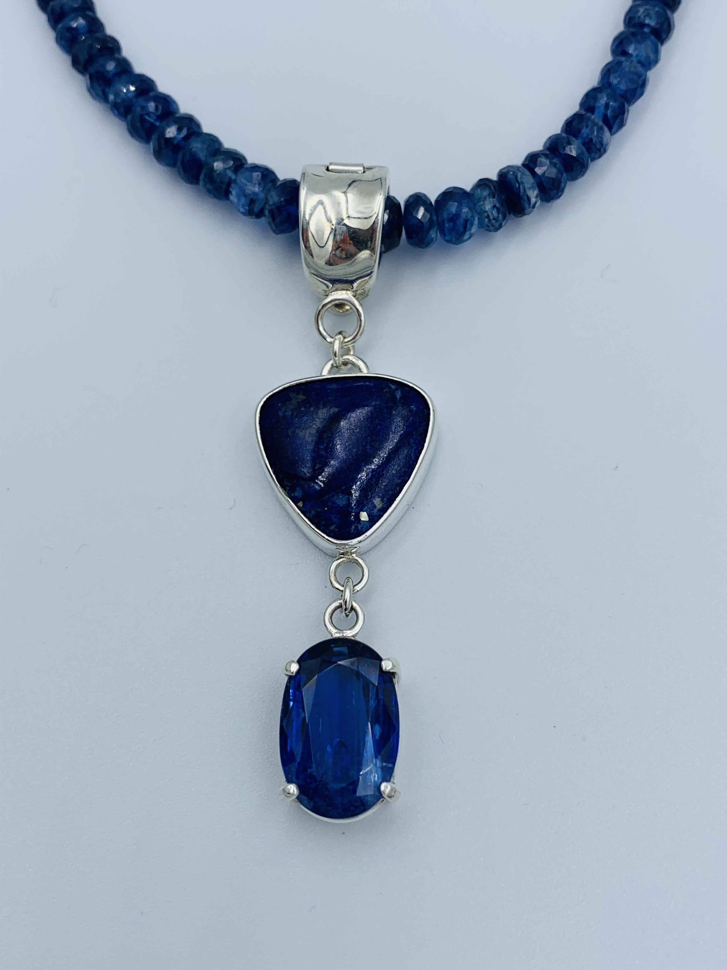 Silver Lapis and Kyanite Pendant