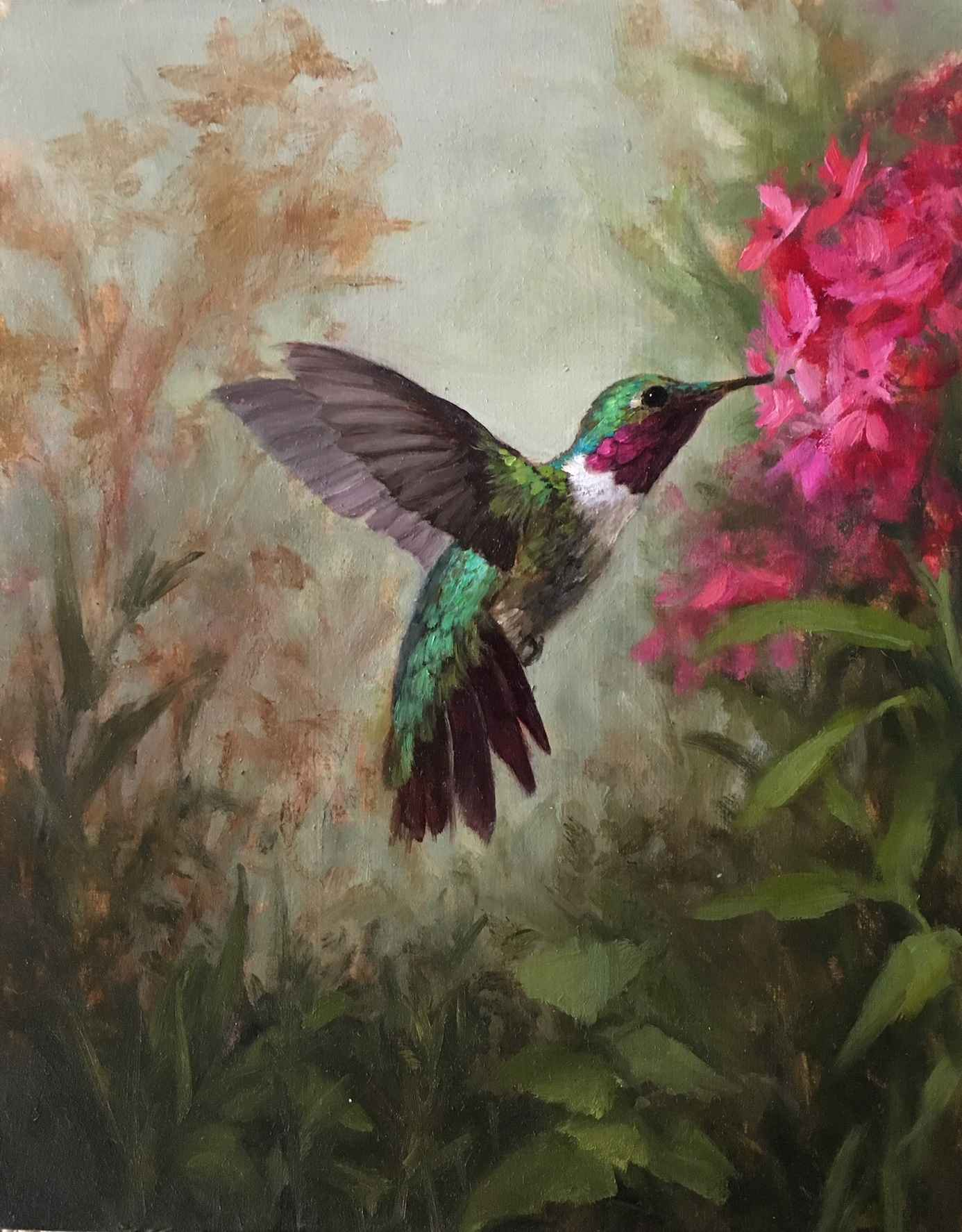 Pink Blossoms and Hum... by  Mary Kay  West  - Masterpiece Online