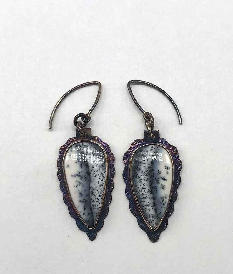 Sterling and Denturic Opal Earrings