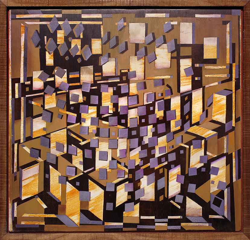 Purple Squares on Mahogany Board by Robert Wymer