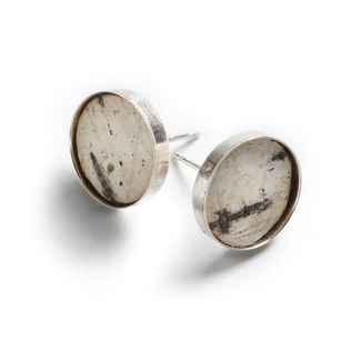 Classic Earrings Birch Bark and Sterling, 1/2