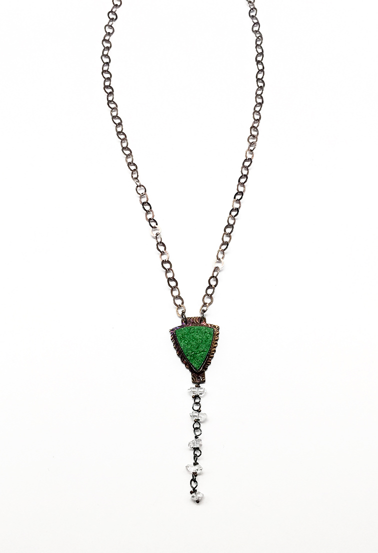 Uvararite (Green Garnet), Herkimer Diamond Crystals and Sterling Necklace