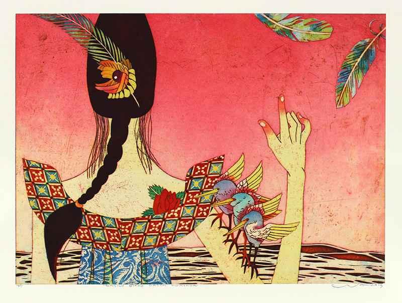 Easily Birds Catch Fe... by  Yuji Hiratsuka - Masterpiece Online