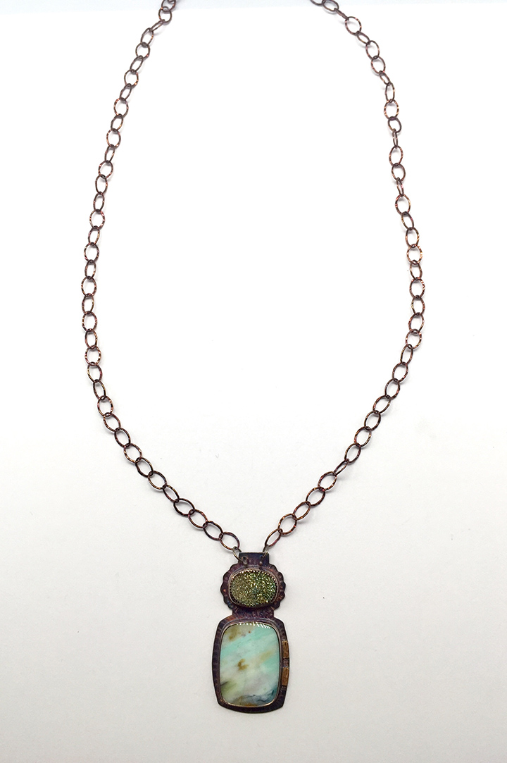 Pyrite Druzy, Blue Opal Displaced Petrified Wood, Sterling and 22k Necklace