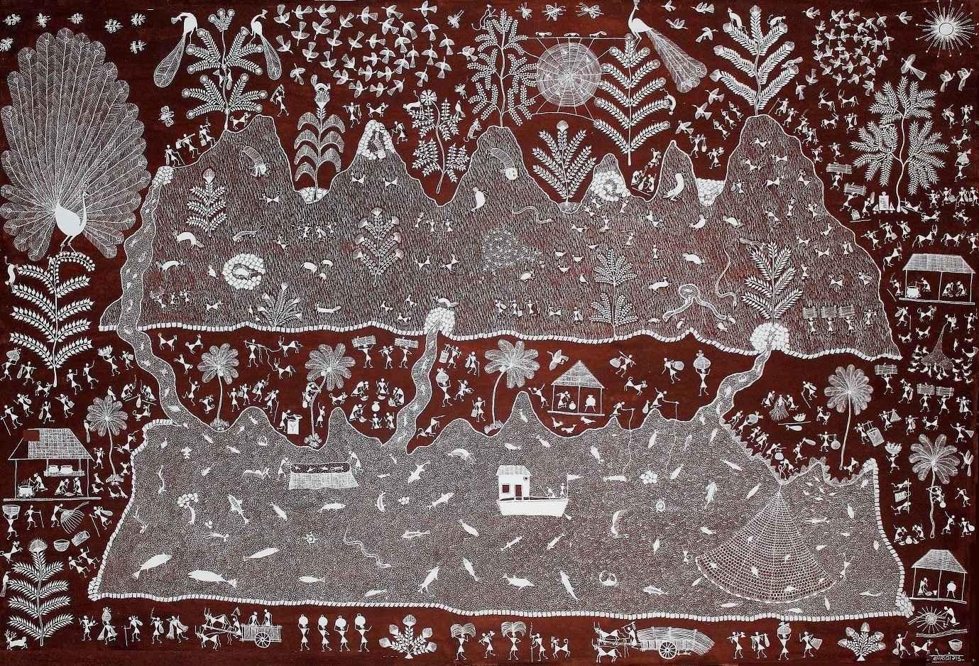Mer et montagne by  WARLI ART - Masterpiece Online