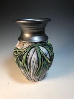 Ginkgo Leaf Vase with Black Top