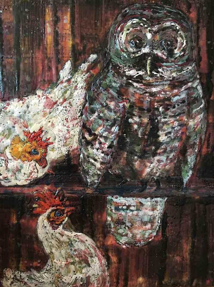 Owl in the Hen House  by  Helene Farrar