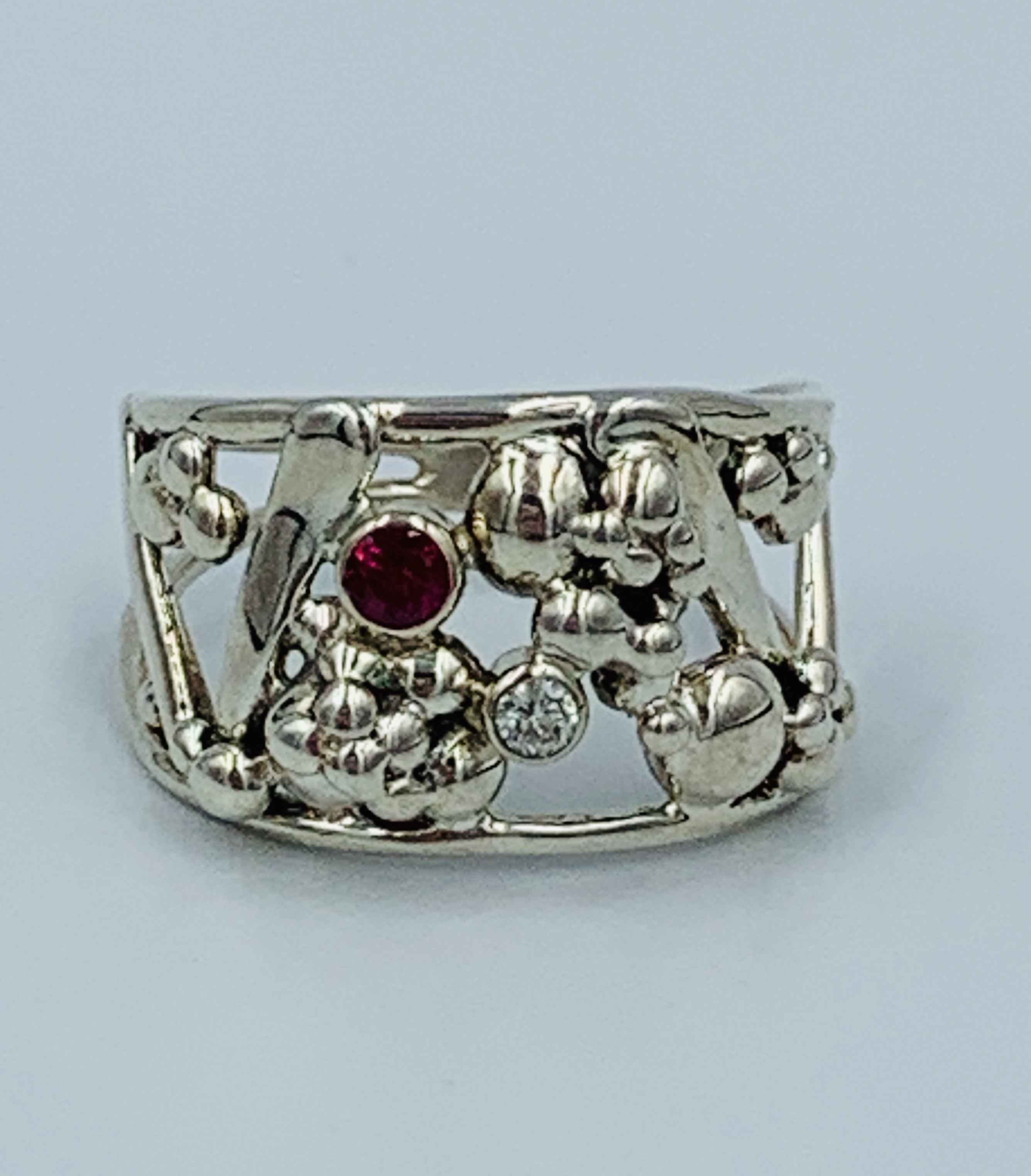 Silver Ruby and Diamond Ring size 8