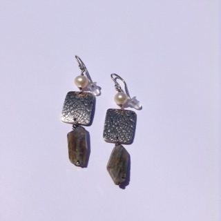 Silver Freshwater Pearls and Labradorite Earrings