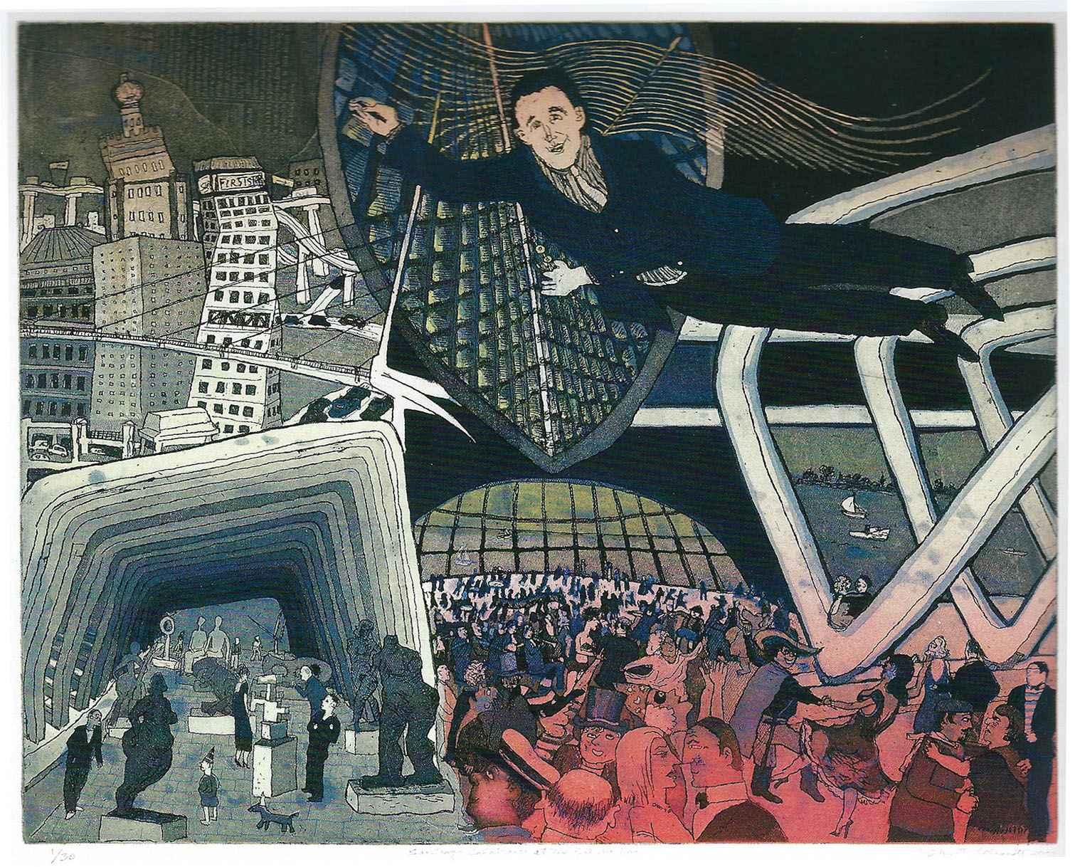 Santiago Calatrava at... by  Warrington Colescott - Masterpiece Online