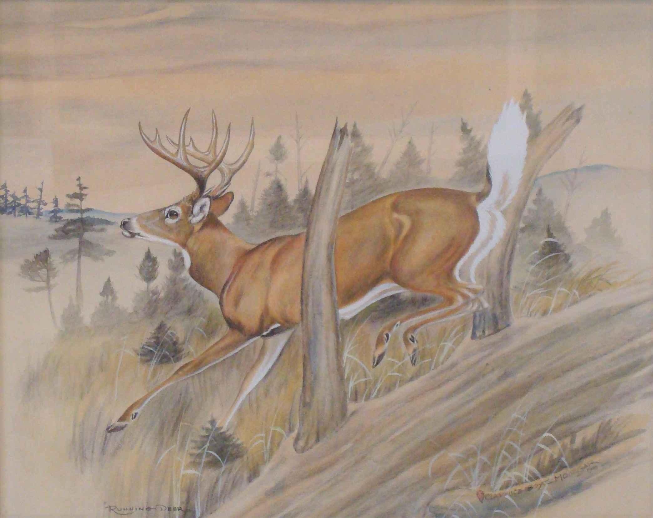 Running Deer by Mr. Clarence Boyce Monegar - Masterpiece Online