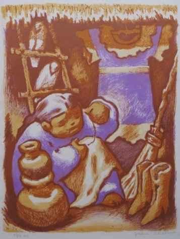 Little Seamstress, 88... by  Jean Charlot (1898-1979) - Masterpiece Online